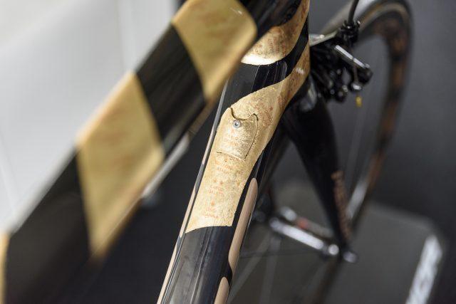 Рама обёрнута золотыми листьями, в честь 100-летнего юбилея Giro d'Italia. Фото: Джеймс Винсент.